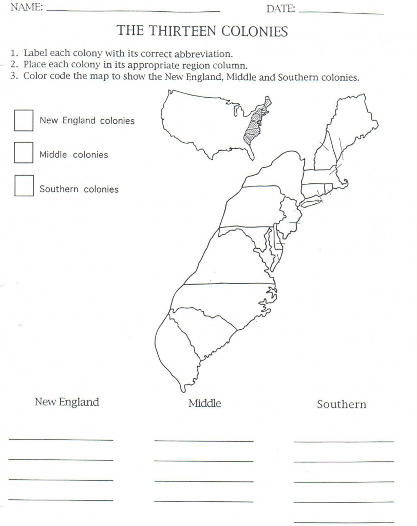 13 Colonies Map To Color And Label, Although Notice That They Have in New England Colonies Map Printable