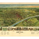 1892 Bird's Eye Map Of Waco Texas Vintage Art Print   Magnolia Style Regarding Printable Map Of Waco Texas