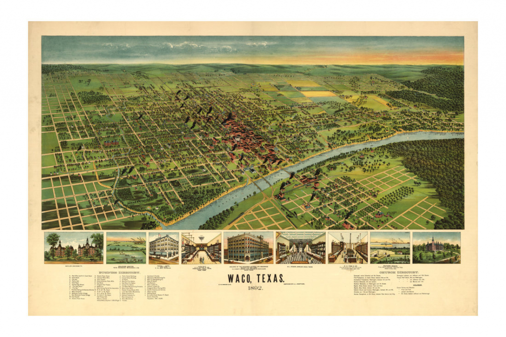 1892 Bird's Eye Map Of Waco Texas Vintage Art Print - Magnolia Style regarding Printable Map Of Waco Texas