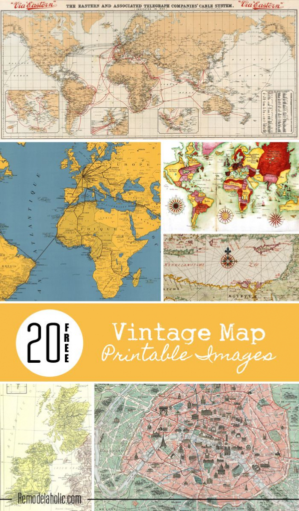 20 Free Vintage Map Printable Images | Remodelaholic #art for Create Printable Map