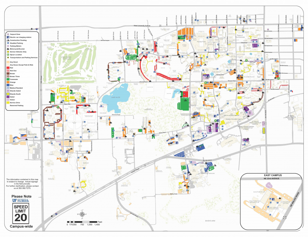 2018-19 Pdf Map - Transportation And Parking Services Transportation regarding Uf Campus Map Printable