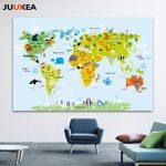 2019 Canvas Art Print Painting Poster, Cartoon Children Kawaii Pertaining To Kid Friendly World Map Printable