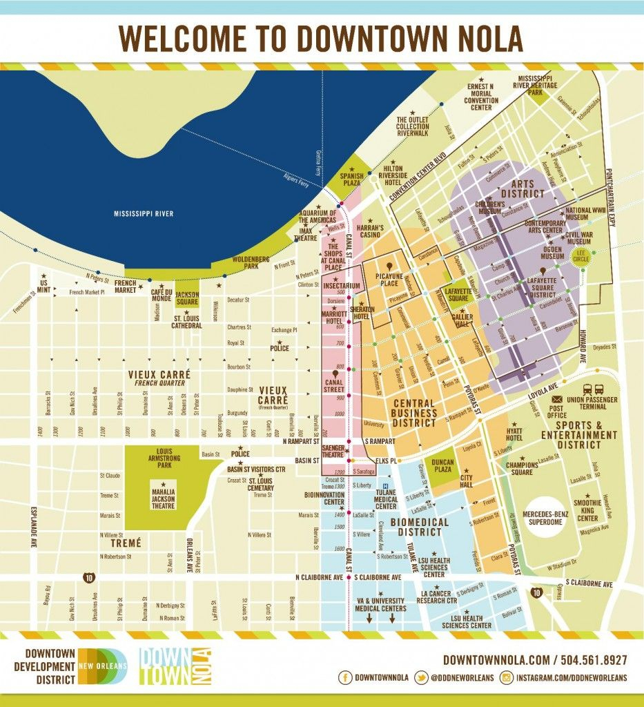 A Downloadable Map Of Downtown New Orleans; Conference Hotel Is within Printable Walking Map Of New Orleans
