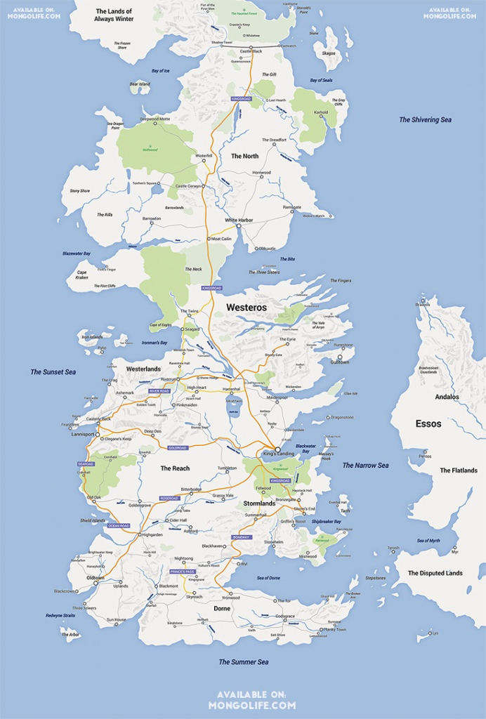 A Game Of Thrones Map, Google Maps Style - Nerdist with Game Of Thrones Printable Map
