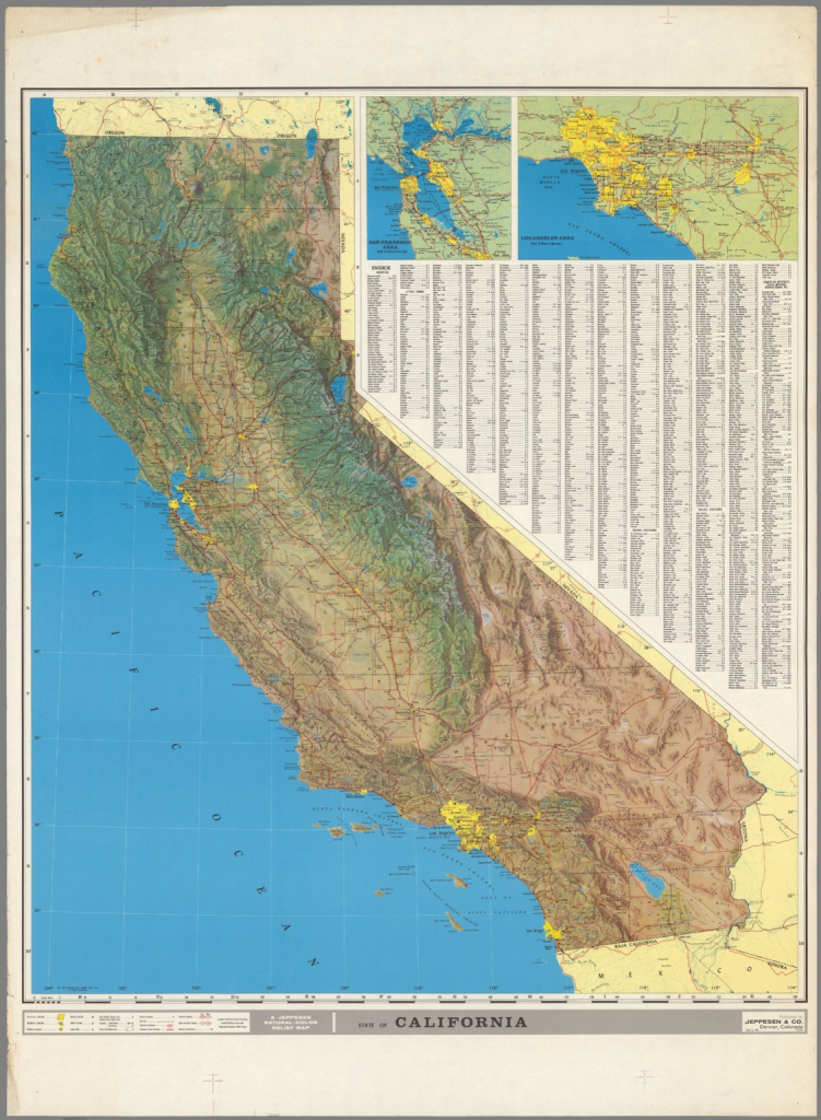 A Jeppesen Natural - Color Relief Map - David Rumsey Historical Map with California Relief Map Printable