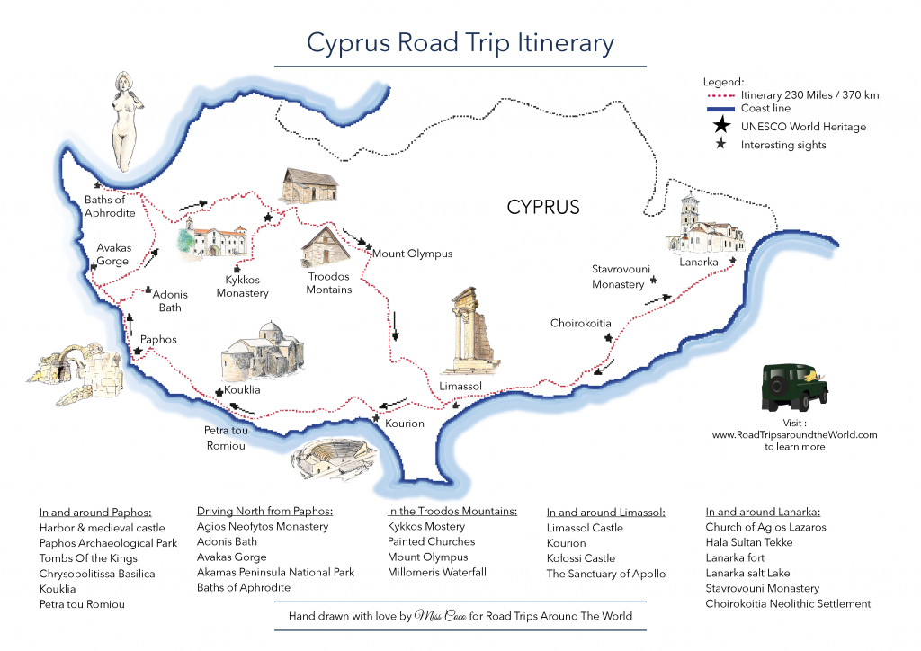 A Road Trip In Cyprus - Free Printable Map - Road Trips Around The World intended for Printable Road Trip Maps