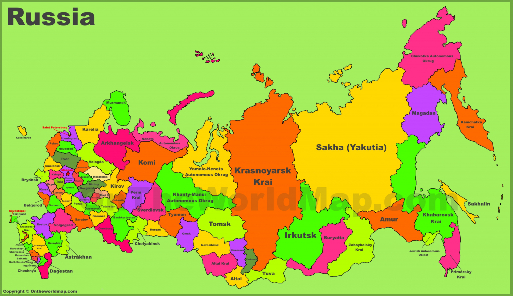 Administrative Divisions Map Of Russia throughout Printable Map Of Russia
