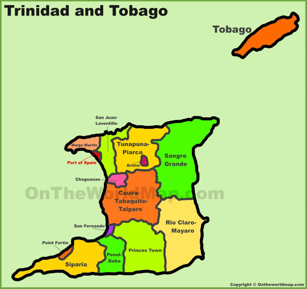 Administrative Divisions Map Of Trinidad And Tobago for Printable Map Of Trinidad And Tobago