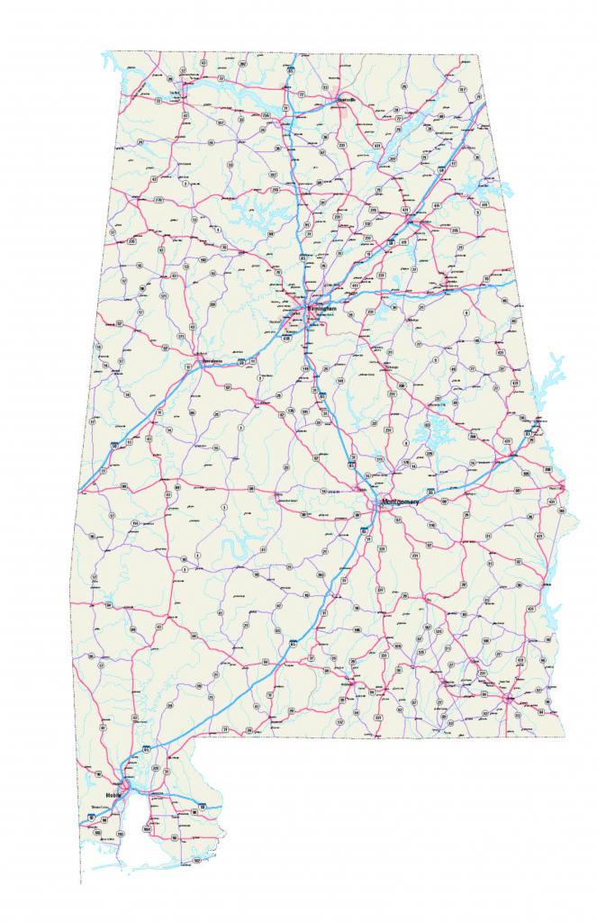 Alabama Maps - Free Printable Alabama Road Maps in Printable Map Of Alabama