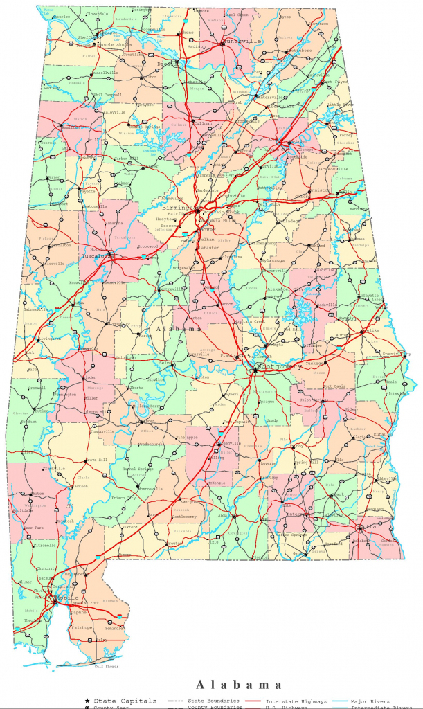 Alabama Printable Map intended for Printable Alabama Road Map