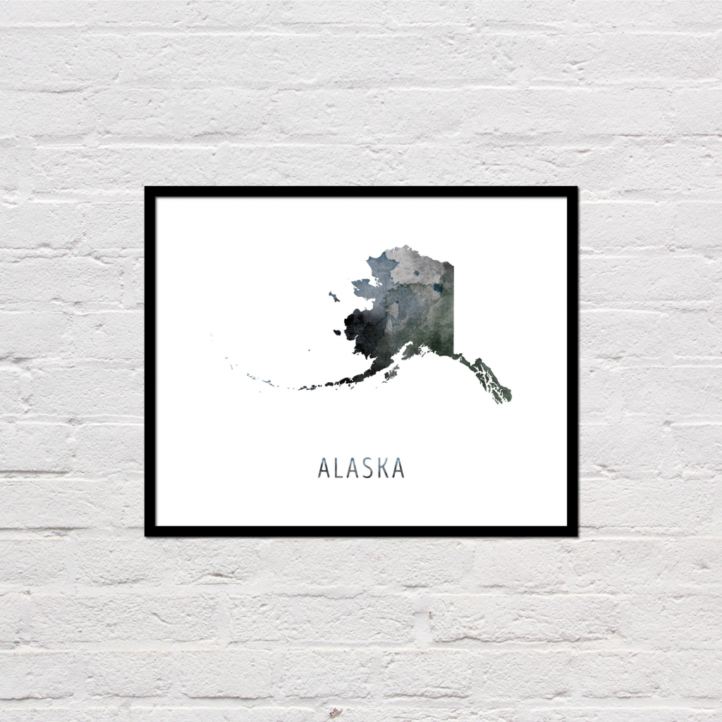 Alaska Map Print Printable Alaska State Map Alaska Art | Etsy with Alaska State Map Printable