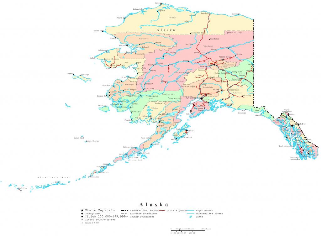 Alaska Printable Map for Printable Map Of Alaska