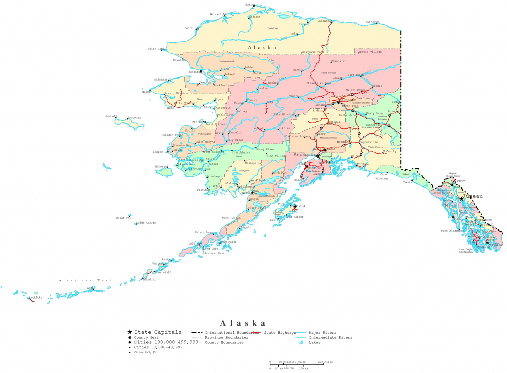 Alaska Printable Map pertaining to Alaska State Map Printable