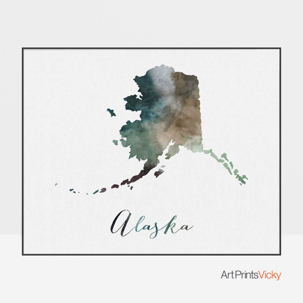 Alaska State Map Print | Art Prints Vicky inside Alaska State Map Printable