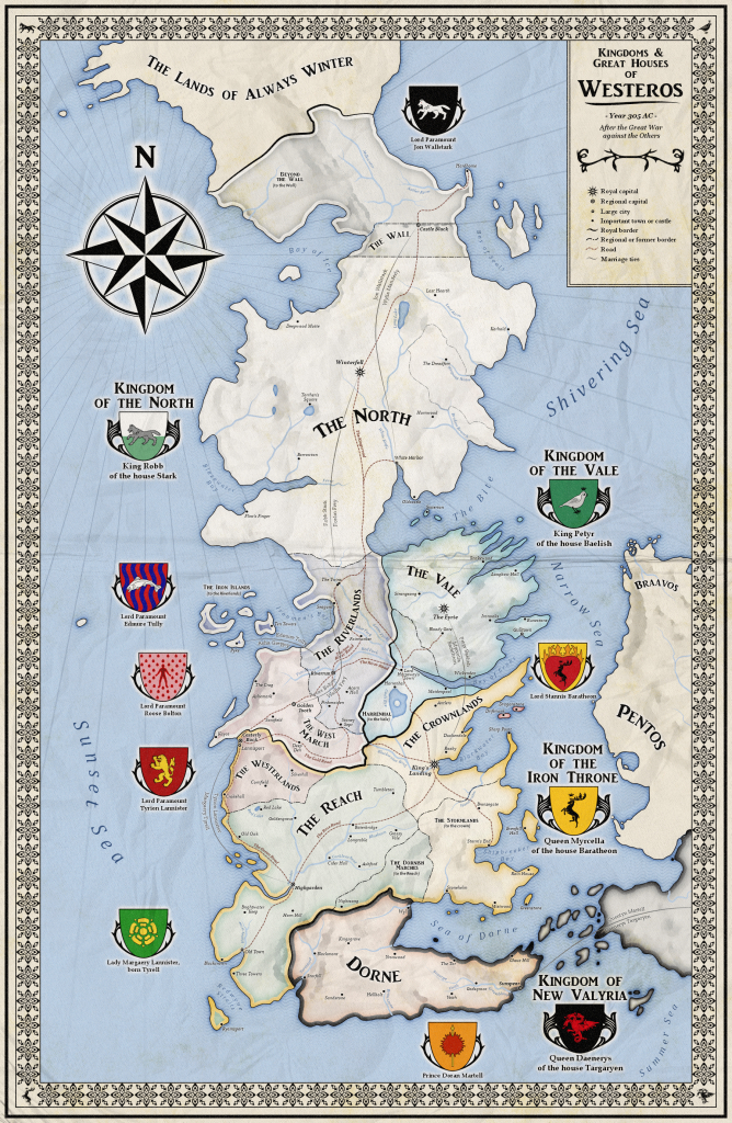 Alternative Map Of Westeros (Game Of Thrones)Zalringda | Game Of inside Printable Map Of Westeros