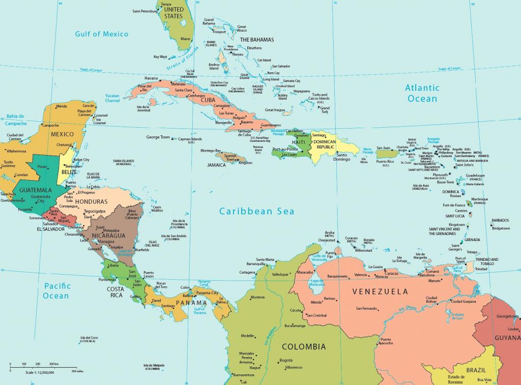 America Caribbean Pol Printable Maps Central America Island Map 15 in Printable Map Of Central America
