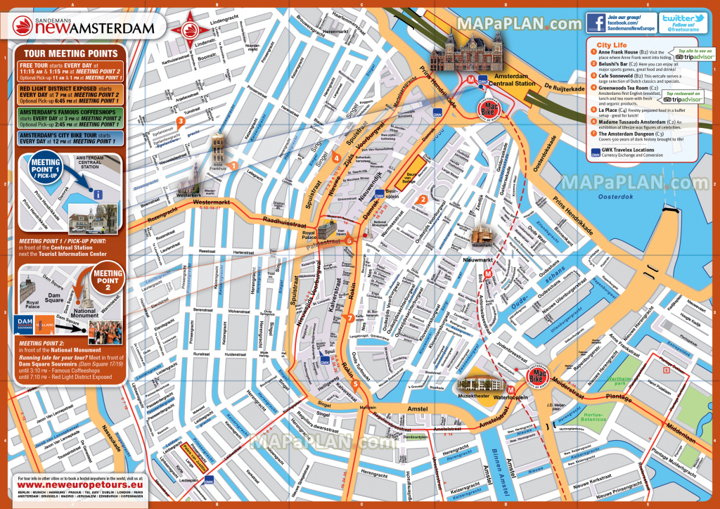 Amsterdam Maps - Top Tourist Attractions - Free, Printable City pertaining to Amsterdam Street Map Printable