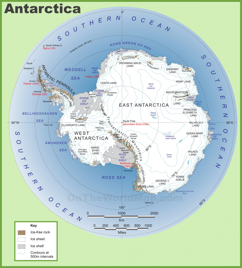 Antarctica Maps | Maps Of Antarctica - Ontheworldmap regarding Printable Map Of Antarctica