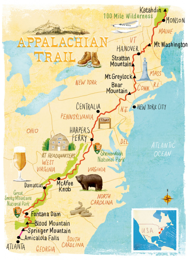 Appalachian Trail Map Scott Jessop | Map Illustration In 2019 with Printable Appalachian Trail Map