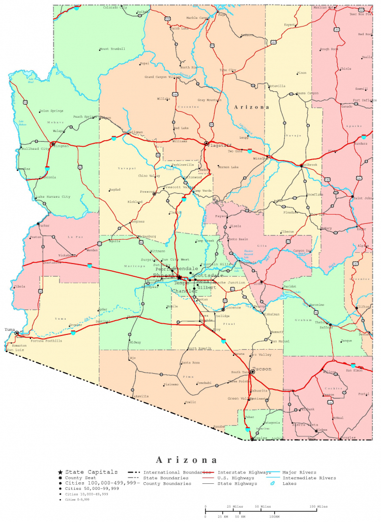 Arizona Printable Map within Free Printable Map Of Arizona