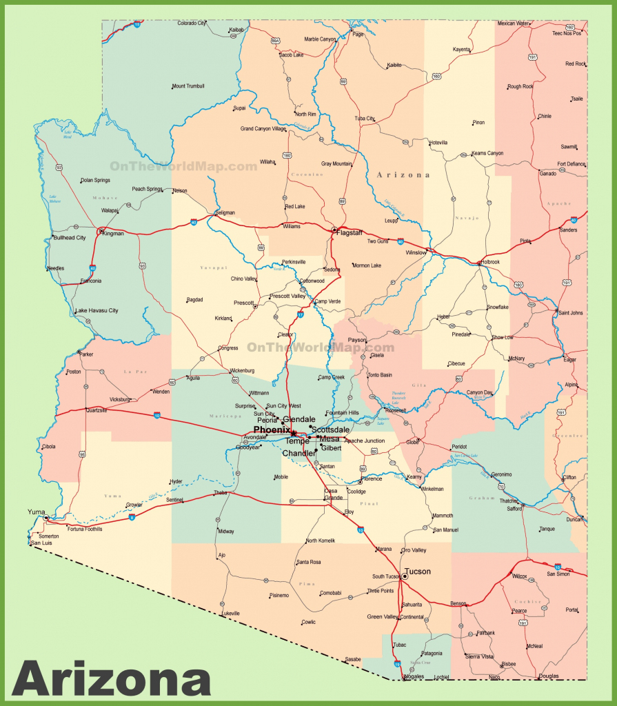 Arizona Road Map With Cities And Towns in Printable Map Of Arizona