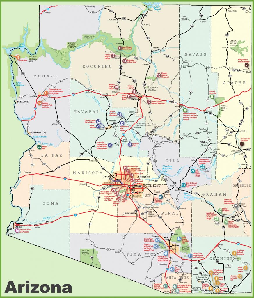 Arizona Sightseeing Map inside Printable Map Of Arizona