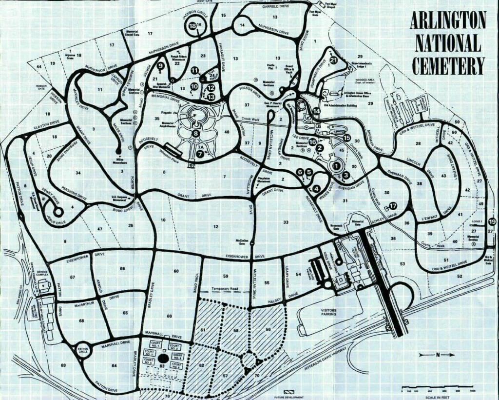 Arlington National Cemetery Map in Arlington Cemetery Printable Map