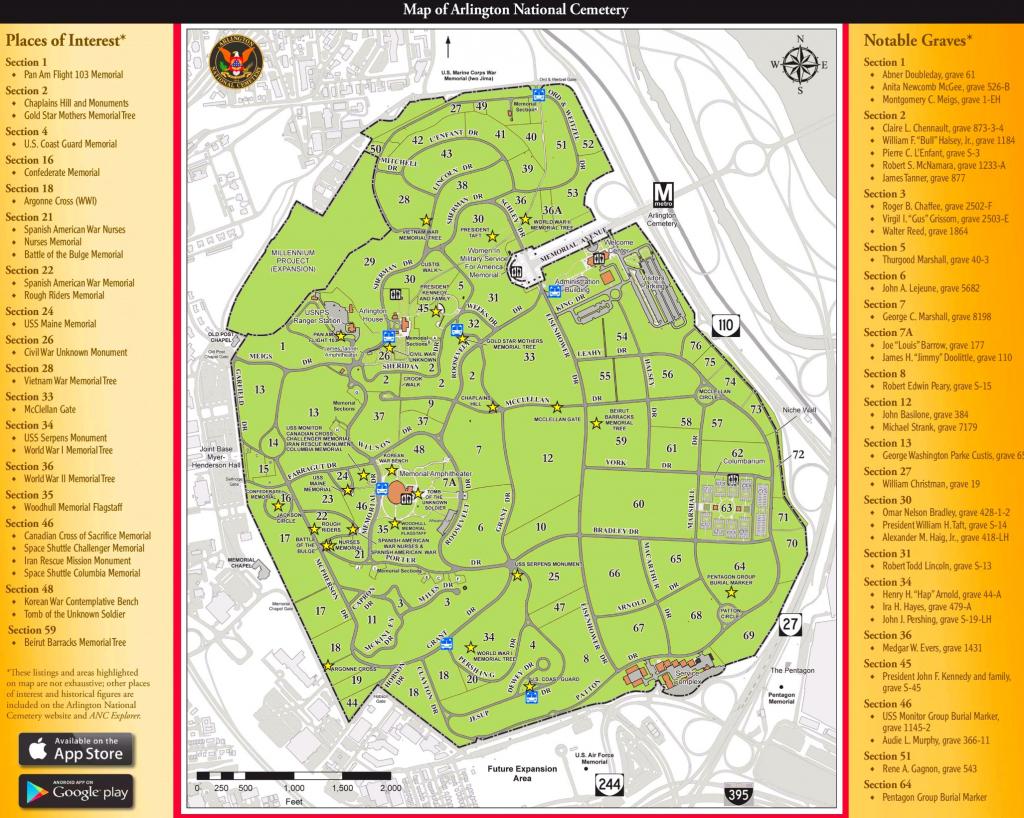 Arlington National Cemetery Map pertaining to Arlington Cemetery Printable Map