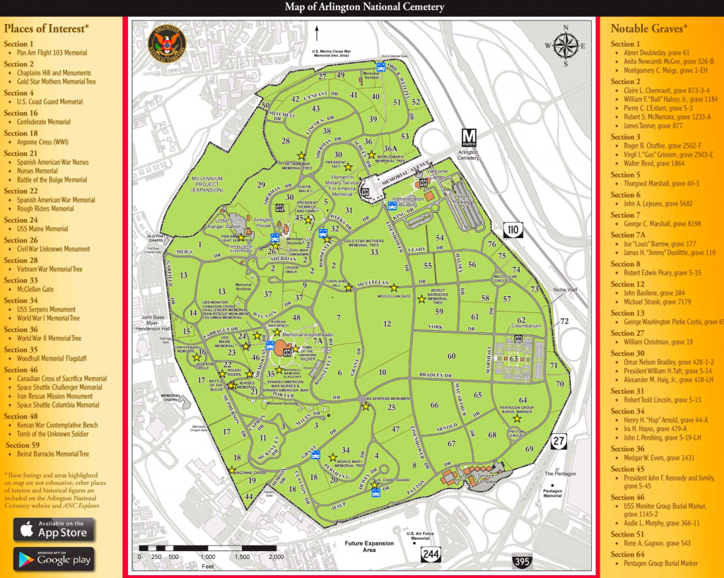 Arlington National Cemetery Map within Printable Map Of Arlington National Cemetery