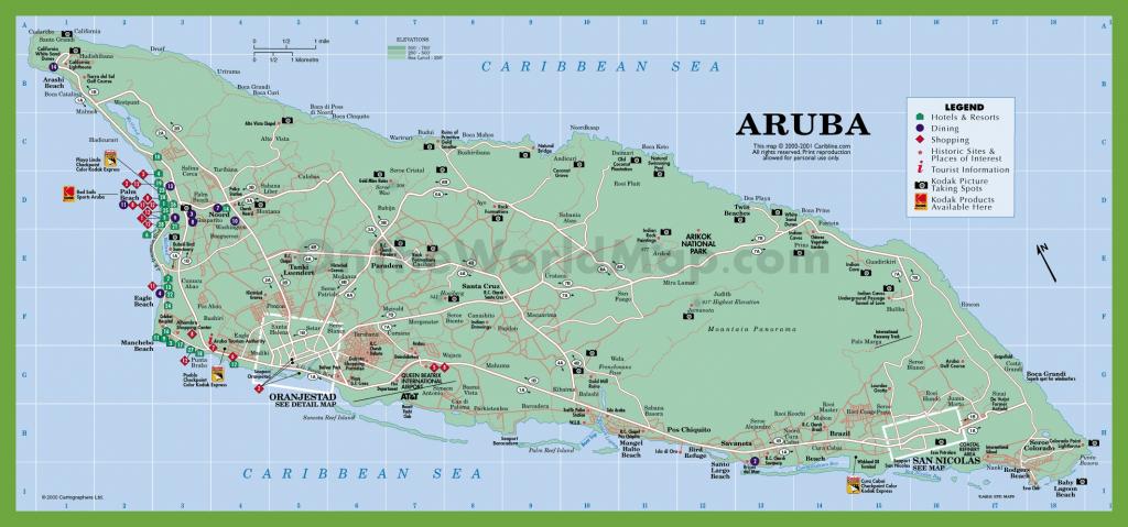 Aruba Road Map in Printable Map Of Aruba