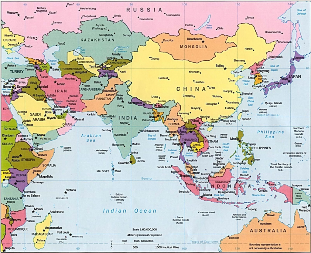 Asia Maps With Countries And Capitals Simple Printable Map Pikku Of for Printable Map Of Asia With Countries And Capitals