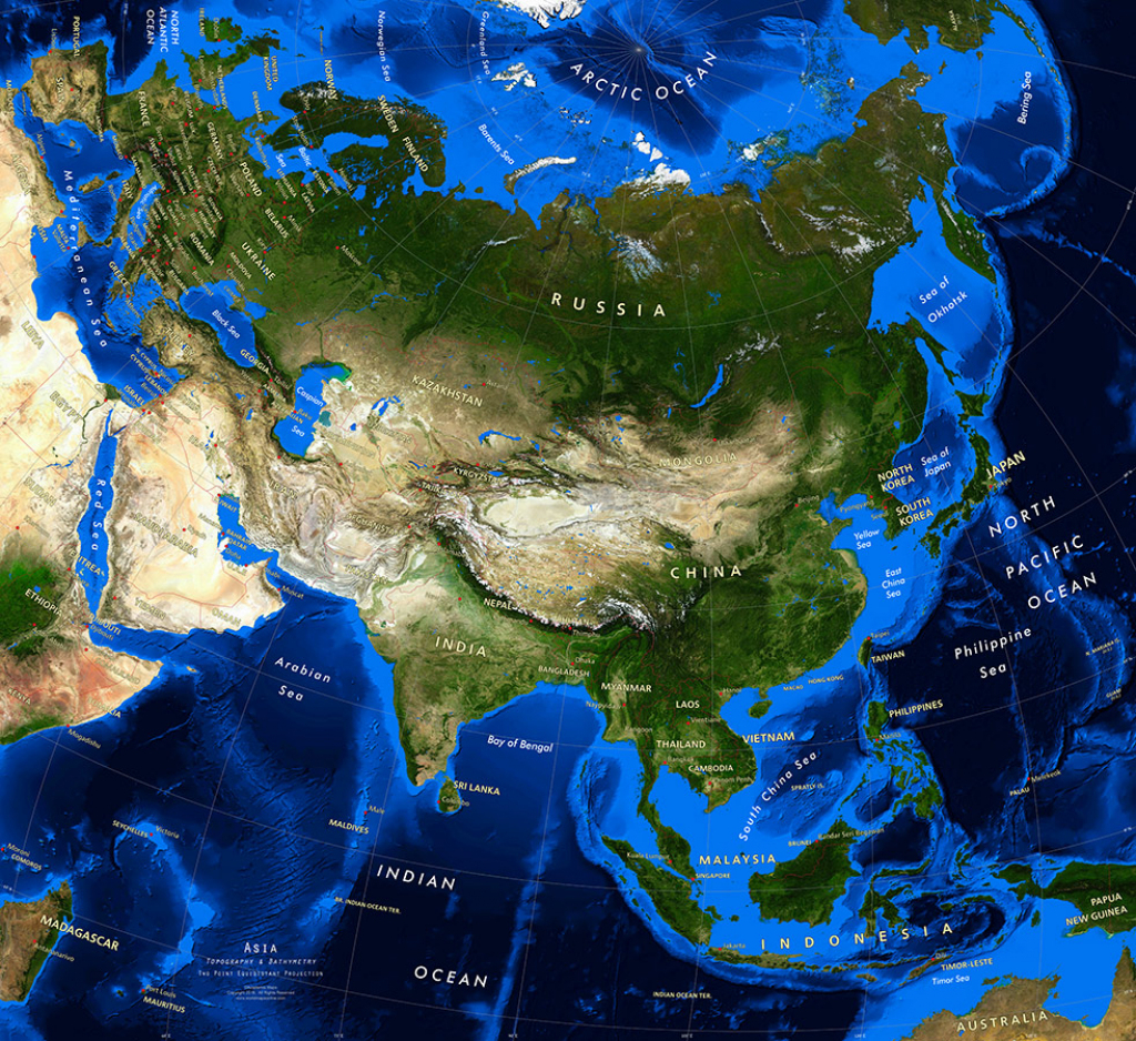 Asia Satellite Image Giclee Print Topography & Bathymetry for Topographic World Map Printable