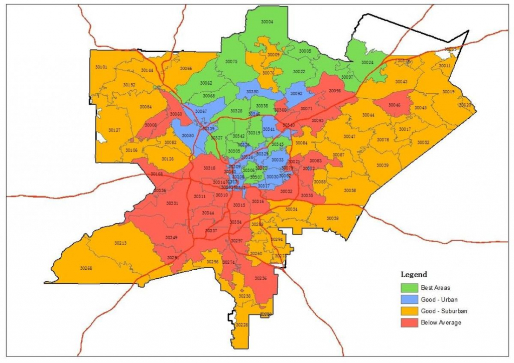 Atlanta Zip Code Map - Zip Code Map Of Atlanta (United States Of within Atlanta Zip Code Map Printable
