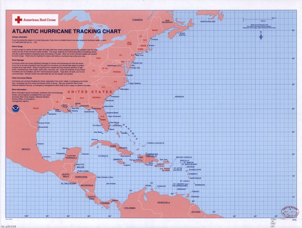 Atlantic Hurricane Tracking Chart | Library Of Congress intended for Printable Hurricane Tracking Map