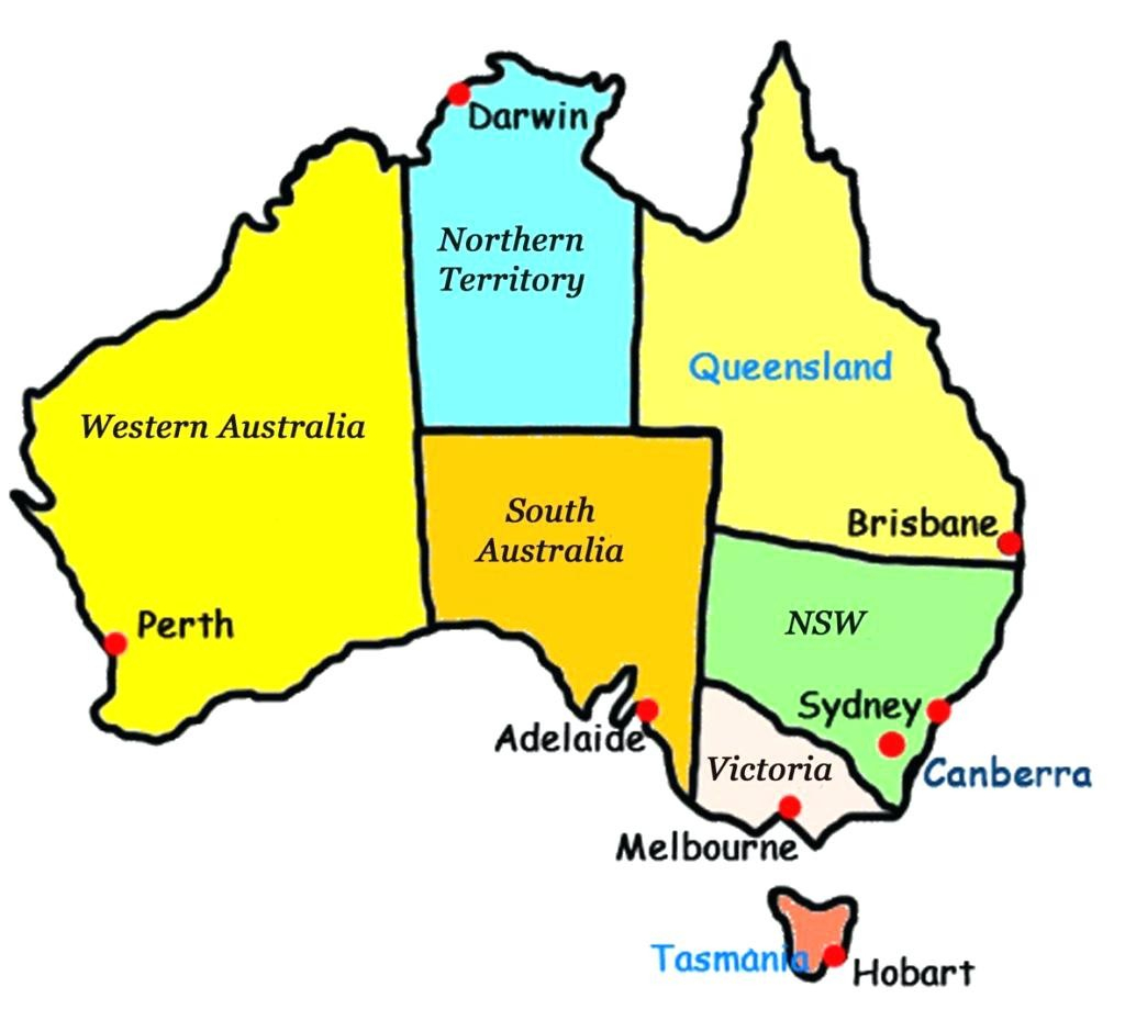 Australia State Maps Capitals Map Of With States And Update with regard to Printable Map Of Australia With States And Capital Cities
