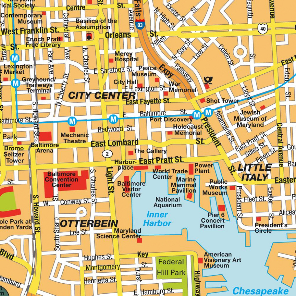 Baltimore Usa Cruise Port Of Call intended for Printable Map Of Baltimore