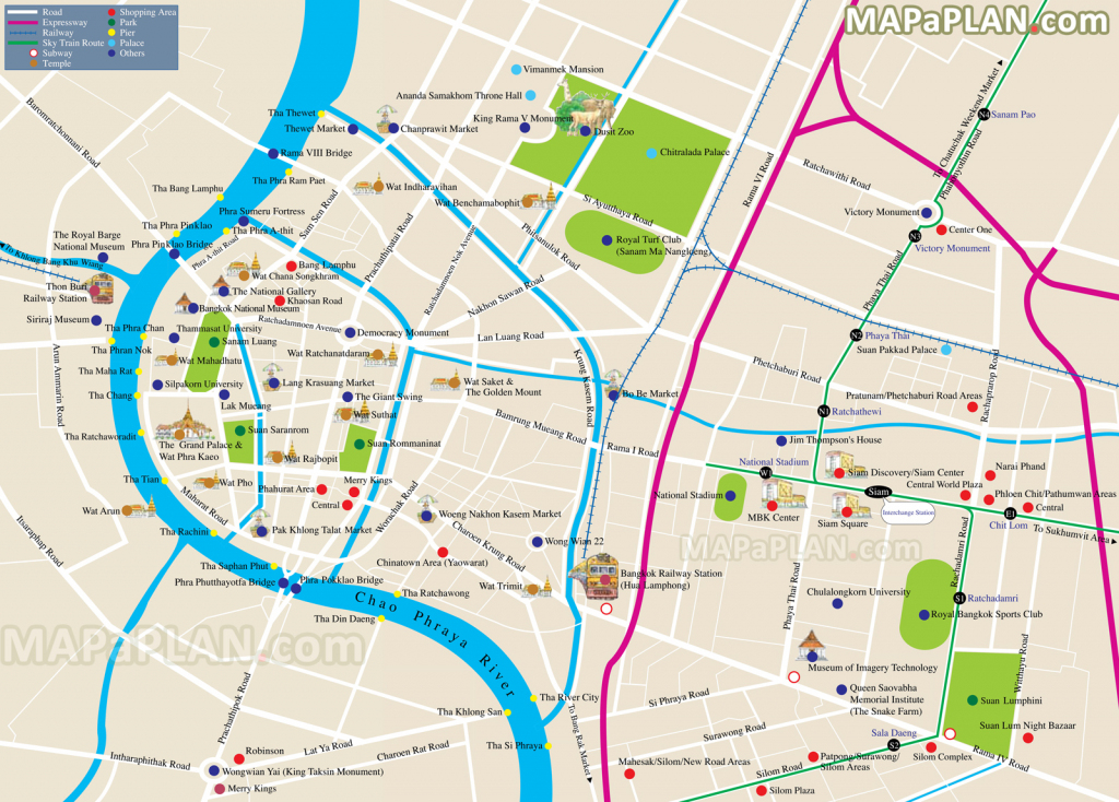Bangkok Maps - Top Tourist Attractions - Free, Printable City Street Map intended for Printable Map Of Bangkok