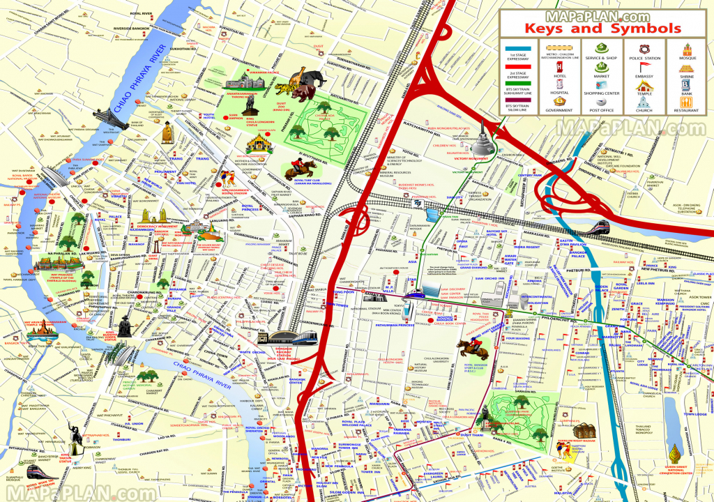 Bangkok Maps - Top Tourist Attractions - Free, Printable City Street Map pertaining to Bangkok Tourist Map Printable