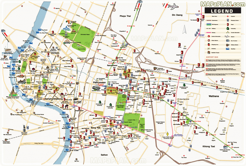 Bangkok Maps - Top Tourist Attractions - Free, Printable City Street Map with Printable Map Of Bangkok