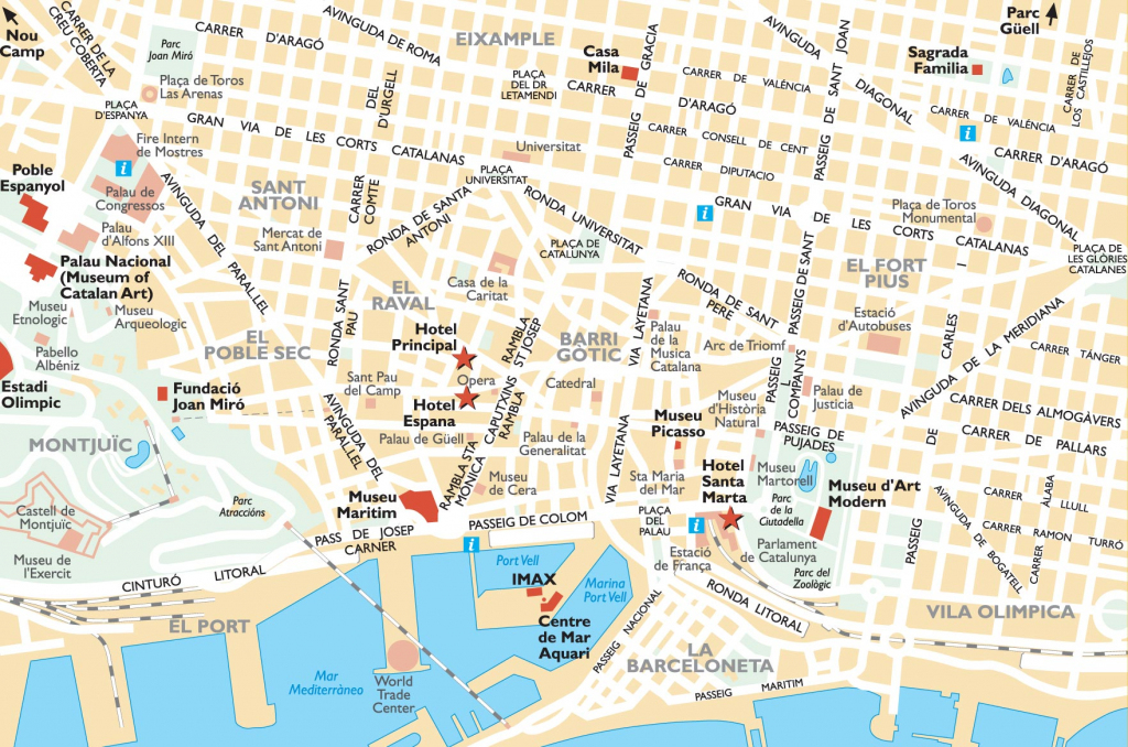 Barcelona Attractions Map Pdf - Free Printable Tourist Map Barcelona in Barcelona Street Map Printable