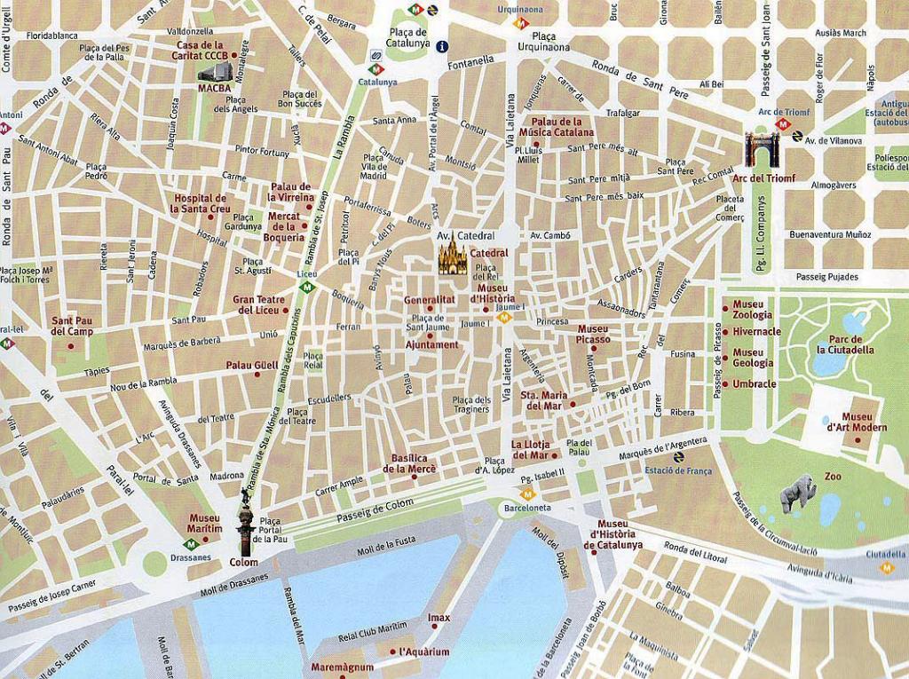 Barcelona Attractions Map Pdf - Free Printable Tourist Map Barcelona intended for Barcelona Tourist Map Printable