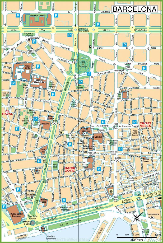 Barcelona City Center Map inside Printable Map Of Barcelona