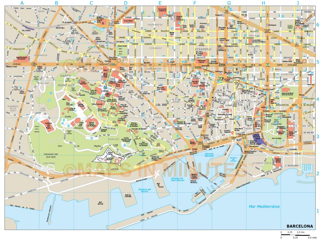 Barcelona City Map In Illustrator Cs Or Pdf Format - Barcelona City for Barcelona Tourist Map Printable