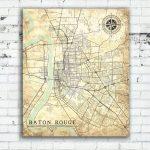 Baton Rouge La Canvas Print Louisiana City Vintage Map Baton Rouge In Printable Map Of Baton Rouge