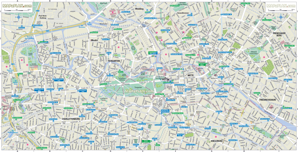 Berlin Maps - Top Tourist Attractions - Free, Printable City Street Map intended for Printable Map Of Berlin