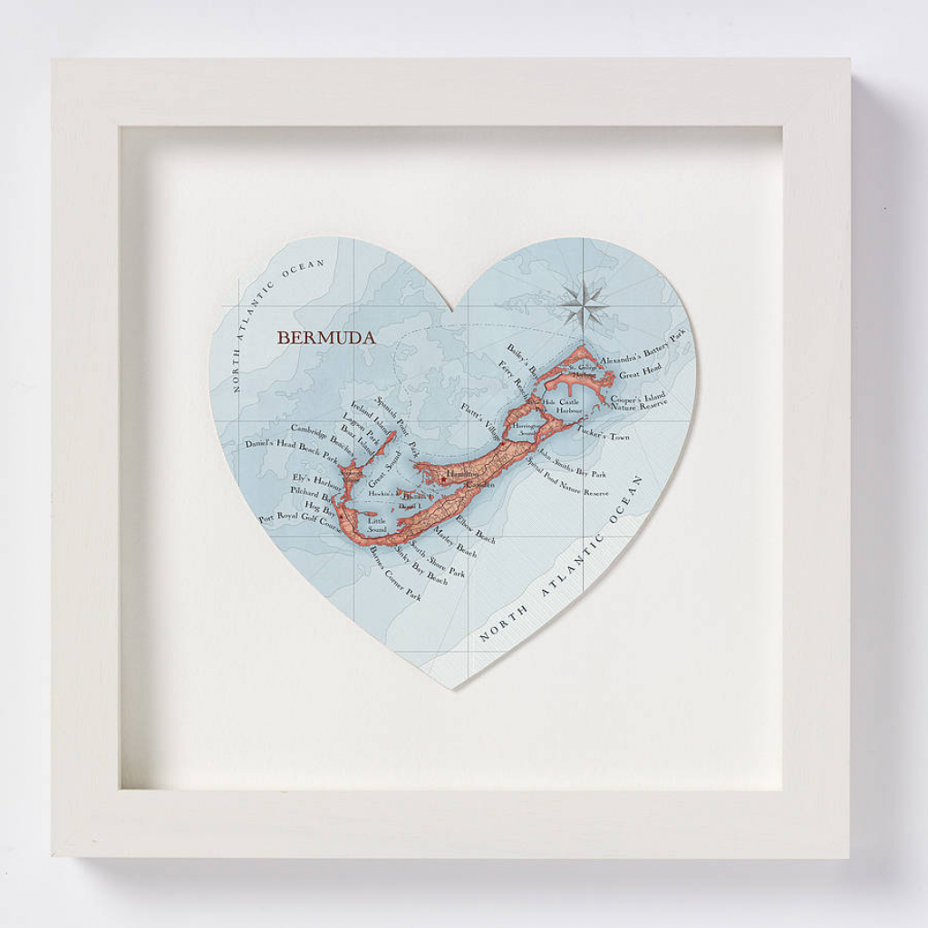 Bermuda Map Heart Printbombus Off The Peg | Notonthehighstreet intended for Printable Map Of Bermuda