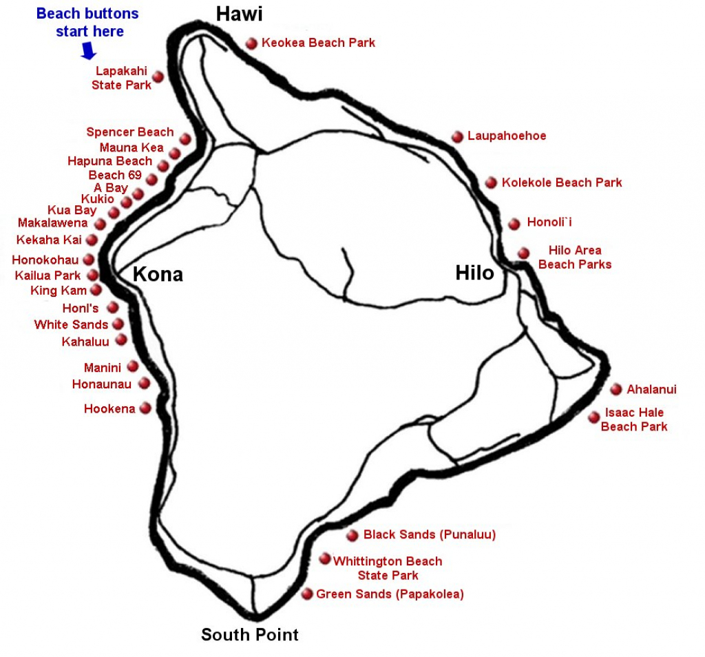 "Big Island Beaches & The Big Island <Br> <Meta Name=""keywords within Map Of The Big Island Hawaii Printable"