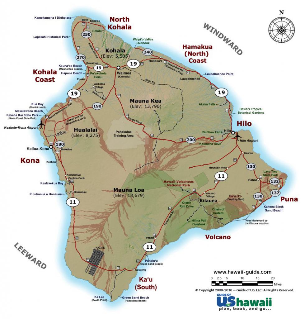 Big Island Of Hawaii Maps regarding Map Of The Big Island Hawaii Printable