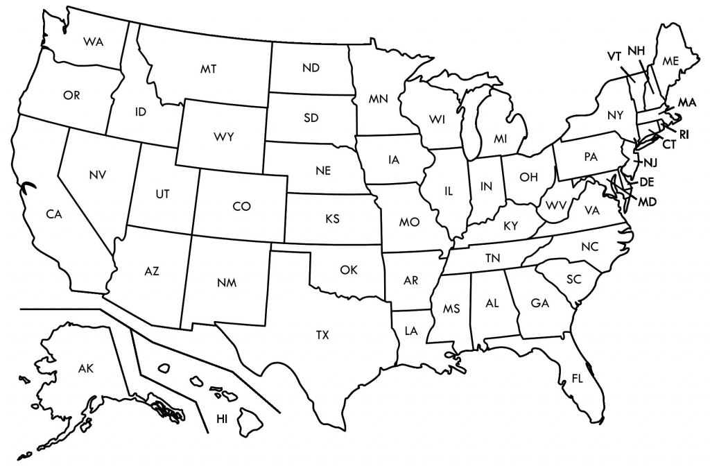 Black And White Map Us States Usa50Statebwtext Inspirational Best throughout Blank Us Map Printable Pdf