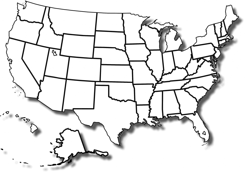 Blank Black And White Us Map Us Map Black And White Usa Map Clip Art within Blank Printable Usa Map